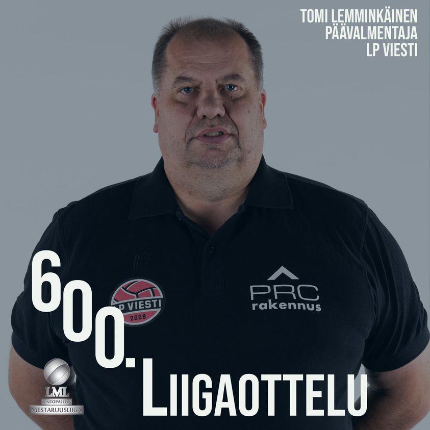 Tomi Lemminkäiselle 600 liigaottelua päävalmentajana